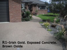 R1 - Irish Gold. Exposed Concrete Brown oxide Coastal Concreting and superior floors Whitianga