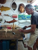 Tim Aldrich wood carving studio Tairua