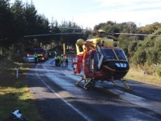 Westpac Rescue Helicopter assisting at scene of accident