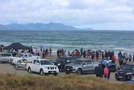 Crowd ocean beach jet ski racing Matarangi Beach Summer Festival