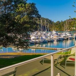 Whitianga Marina Apartments marina and garden balcony view