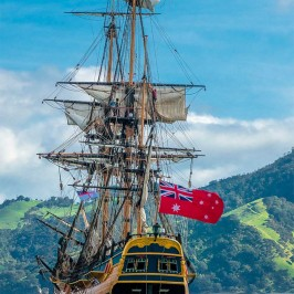 Replica of Endeavour ship sailing in Mercury Bay