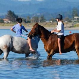 Girls horse riding on Whitianga beach