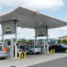 Cars at fuel station