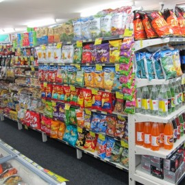 Sweets, chips & soft drinks