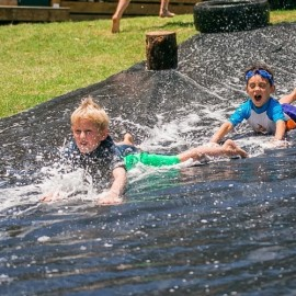 Children on waterslide