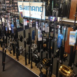 Shimano Fishing Rods on rack