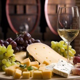 Grapes, cheese and glass of wine