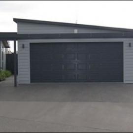 Garage on concrete driveway