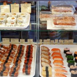 Trays of sushi