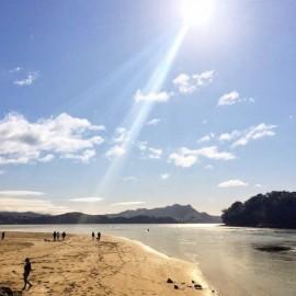 Sun shining on beach Whiting