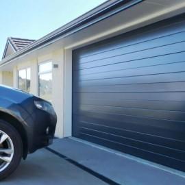Car parked by garage door
