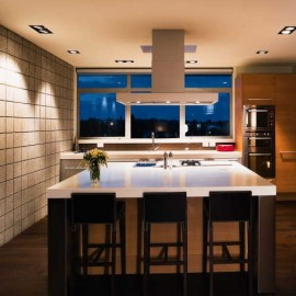 Kitchen with block wall and lights