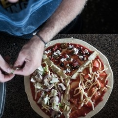 Pizza with fresh ingredients on pizzas at Lukes Kitchen