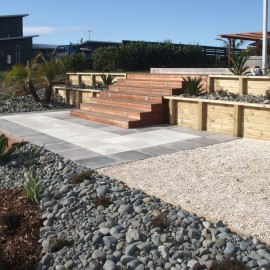 Timbers steps and rock garden