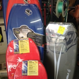 Boogie boards and beach gear at Whitianga sports centre