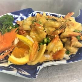 Thai food on blue plate