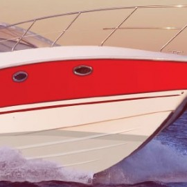Red and white boat