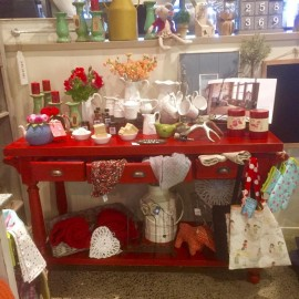 Homeware on red table