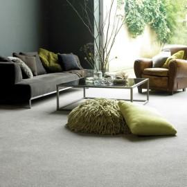 Green cushion on grey carpet