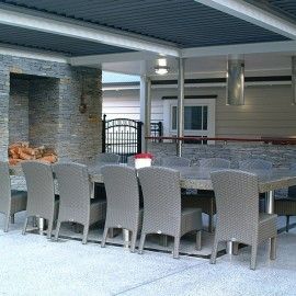 outdoor table and fireplace