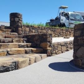 Stone stairs and stone wall Whitianga Waterways