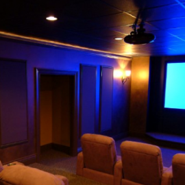 media room with blue screen
