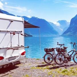Camper van by lake