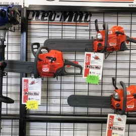 chainsaws on wall
