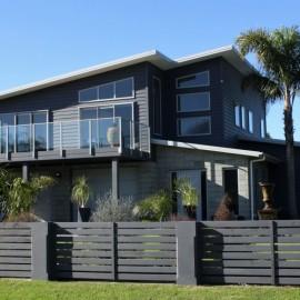 Two level dark grey house