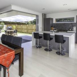 Indoor outdoor flow with large sliding doors
