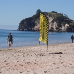 Yellow flag in sand on beach