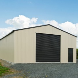 Barn shed with brown door