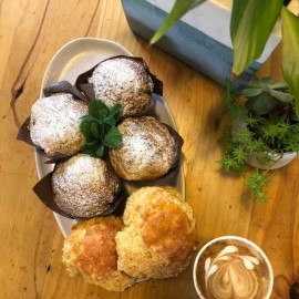 Plate of muffins and scones