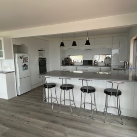 Kitchen with bench and stools