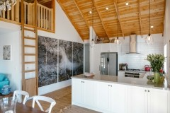 Kitchen with timber ceiling