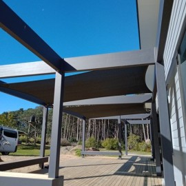 Deck with shade sails