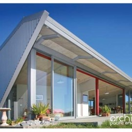 Angled roofed house