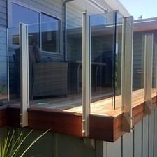 Glass balustrade on timber deck