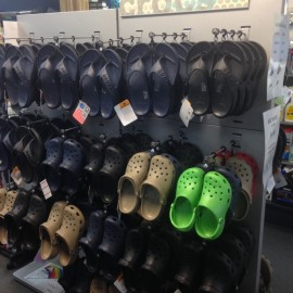 Crocs shoes on display