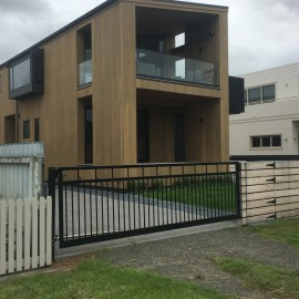 Timber home with automated gate