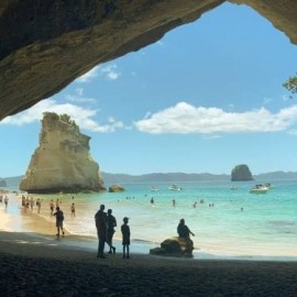 People on beach at Cathedral cove