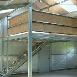 Steel shed inside