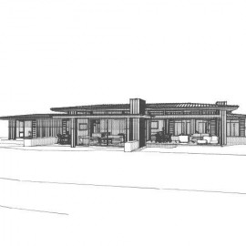 Line drawing of house