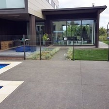 Pool area with glass fence