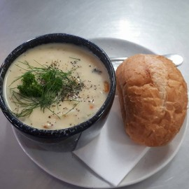 Seafood chowder and roll
