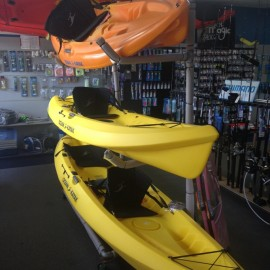 Yellow and orange kayaks