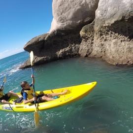 Children in yellow kayak