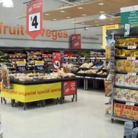 Groceries isles in supermarket