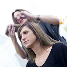 Women having haircut